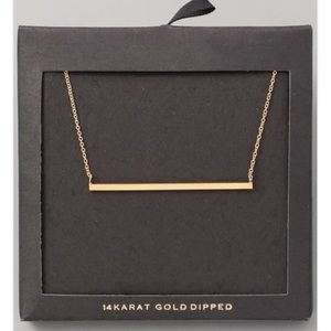 <LAST>14K Gold Dipped One Bar Necklace